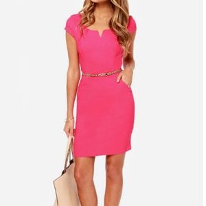 LuLus Exclusive Work Wonders Hot Pink Dress Small
